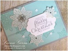 A La Cards: Flurry of Christmas Cards - SU - featuring the Flurry of Wishes & Oh, What Fun stamp sets, Snow Flurry punch