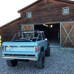 """""""Our Brittany Blue 1977 custom Bronco build went to our client, Drew, in Montana.who appropriately stores stores it in its own barn. Classic Bronco, Classic Ford Broncos, Ford Classic Cars, Classic Chevy Trucks, Chevy Classic, Pink Jeep, Jeep Shirts, Jeep Gladiator, Big Trucks"""