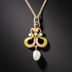Art Nouveau Enamel and Pearl Drop Pendant