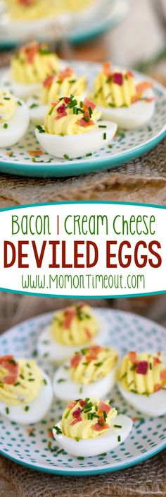 Bacon Cream Cheese Deviled Eggs are delightfully creamy and perfectly savory with the addition of bacon and chives! Double the batch because these won't last long! The perfect appetizer for picnics, BBQ's and parties! | Mom On Timeout: