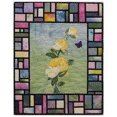 """Art Quilt- Yellow Roses with Stained Glass #1- 11""""x14"""" Wall Art 