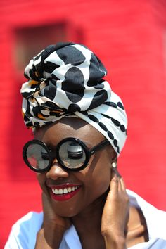 black and white turban | polka dot turban | black women stylin' | accessories