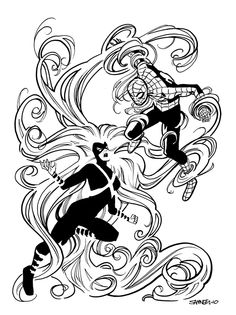 Spider-Man versus Medusa by Chris Samnee
