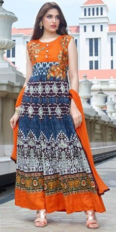 Pleasing Orange And Blue Cotton Anarkali Suit.