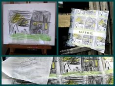 Pillow case hand-painted by Iwakki. Design for fabric by nephew Bartosz.