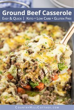 This easy low carb keto ground casserole recipe with cauliflower and stir fry broccoli is a quick dinner idea for famili Easy Ground Beef Casseroles, Ground Beef Recipes For Dinner, Dinner Recipes, Healthy Casserole Recipes, Keto Casserole, Cheeseburger Casserole, Low Carb, Stir Fry, Weeknight Meals