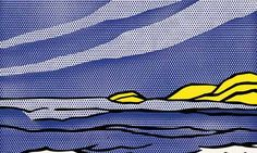"""""""Sea Shore"""" -- Roy Lichtenstein, 1964. Painted in reverse on the back of multiple, layered sheets of Plexiglas in order to create depth."""