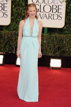 Jessica Chastain in Calvin Klein Collection on the Golden Globes Red Carpet 2013