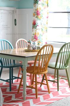 chalky paint tutorial DIY-er Jane {} painted four bright & colorful chairs with Chalky Paint, customized to fit her home office decor!DIY-er Jane {} painted four bright & colorful chairs with Chalky Paint, customized to fit her home office decor! Painted Chairs, Painted Furniture, Kitchen Chairs Painted, Kitchen Furniture, Kitchen Chair Makeover, Painting Kitchen Chairs, Refinished Chairs, Chair Painting, Chair Drawing