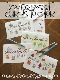 "free printable ""you're sweet"" cards and stationary to colour"