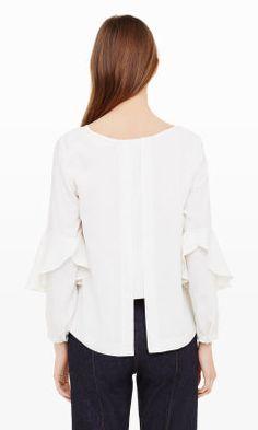 Nasira Flounce-Sleeve Shirt - Club Monaco Long Sleeve - Club Monaco