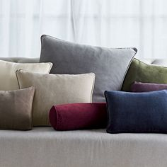 "Velvet Pillow Covers:  bolster or oblong, ""indigo."""