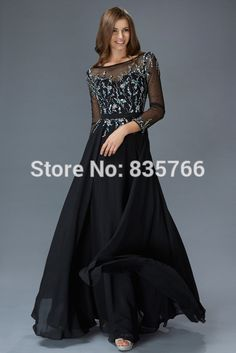 Luxury Balck 2015 Arabic Evening Dress Long Sleeves  Chiffon and Tulle Crystal Beading Gowns Plus Size Formal Gowns