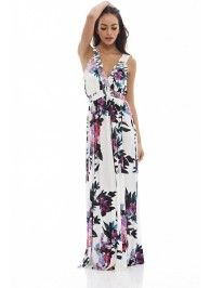 Floral printed maxi dress in cream