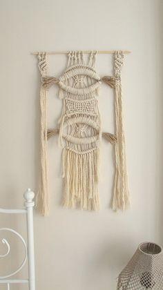 Handmade macrame wall hanging, Black White Home Decor, Shabby Chic Home Decoration, handweaving, fiber art, textile art, gift idea