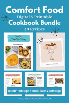 A total of 41 comfort foods recipes in this digital cookbook. 31 entree and sides so you have a different meal every day for a month. Plus 10 sweets and treats recipes to make at home. Printable with or without pictures. If you want some tried and true kitchen tested comfort food recipes, this cook book is for you. Kitchen tips included. #cookbook #digitalcookbook Entree Recipes, Pork Recipes, Crockpot Recipes, Dinner Recipes, One Dish Dinners, One Pot Meals, Meals For One, Delicious Dishes, Delicious Recipes
