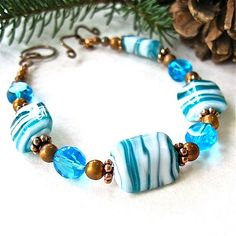 Teal Aqua Bracelet Turquoise Blue White by RoughMagicHolidays, Gorgeous!