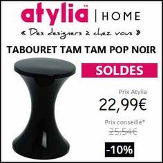 #missbonreduction; Soldes: remise de 10% sur le TABOURET TAM TAM POP NOIR chez Atylia. http://www.miss-bon-reduction.fr//details-bon-reduction-Atylia-i4-c1840684.html