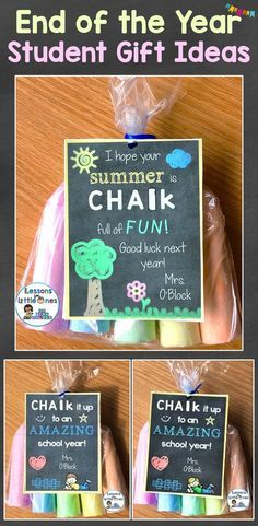 Cute & inexpensive end of the school year student gifts and gift tags. 15+ ideas including sidewalk chalk, bubbles, sand buckets, and more. lessons4littleone...