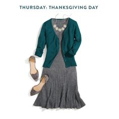 Thanksgiving dinner takes a bit of style finesse. You want to look good, but also be comfortable—even after extra sides of mashed potatoes (with gravy!). Try something classic with stretch like a sweater dress; it's formal enough for even the dressiest of dinner tables but still soft and expandable.