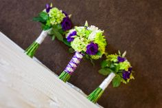 Green and Purple Wedding Flowers...love how the stems are wrapped.