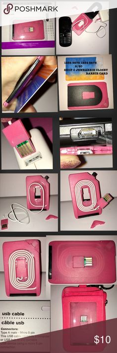 """NEW PINK USB CABLE CREDIT CARD 💳 SIZE!  ANDROID NEW PINK CREDIT CARD SIZED PORTABLE USB CABLE! Now you can conveniently keep a USB charging/sync cable in your wallet! CORD LENGTH IS 22"""". for Android phones tablets or watches. micro USB (5-pin connector) one end, accessible once you remove the corner piece,(see 2nd photo) full-size USB cable on the other (see 2nd photo). IT ALSO STANDS ON Its own! ONLY WHATS SHOWN IN LAST PHOTO IS INCLUDED in the price! I have this in black also if…"""
