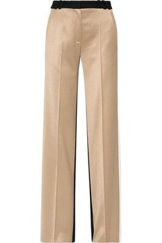 Pallas - Aspen Paneled Satin And Wool Wide-leg Pants - Sand - FR