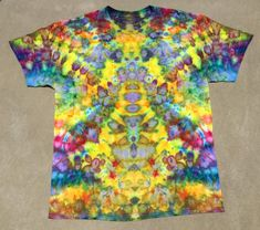 70fde18ec443 Psychedelic Tie Dye Ice Dye Yellow Rainbow Unisex Festival Clothing  Girlfriend Boyfriend Gift Fourth of July