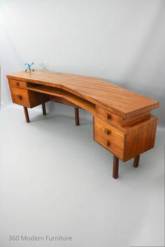 MID Century Modern Custom Sideboard Desk Room Divider Retro Vintage Blackbean, two person desk, Danish Jakob Rudowski Dario Zoureff era in VIC | 360 Modern Furniture eBay