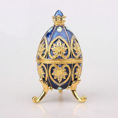 New Arrival Peacock Tail Faberge Easter Egg Trinket Box Figurine Home Display Vintage Retro Russia Egg Magnet Craft
