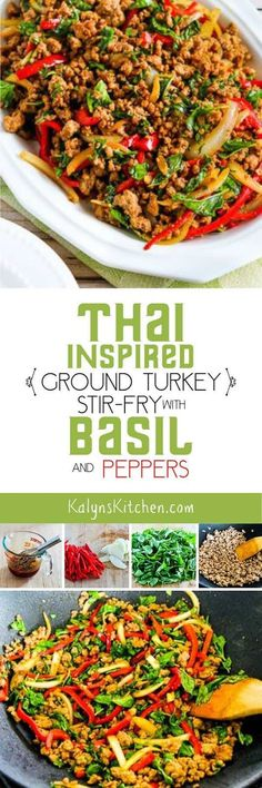 I love, love, love this low-carb Thai-Inspired Ground Turkey Stir-Fry with Basil and Peppers; the recipe has good step-by-step instructions if you're not experienced at stir-fry cooking.  [found on KalynsKitchen.com] Dinner With Ground Turkey, Recipes With Ground Turkey, Ground Turkey Recipes Whole 30, Minced Turkey Recipes, Paleo Turkey Recipes, Ground Turkey Meal Prep, Ground Turkey Dinners, Thai Ground Chicken Recipe, Ground Meat Recipes