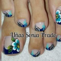 60 Pretty Toe Nail Designs For Autumn - - Pedicure Designs, Pedicure Nail Art, Toe Nail Designs, Toe Nail Art, Pretty Toe Nails, Fancy Nails, Nagel Hacks, Feet Nails, Flower Nails