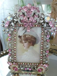 victorian bejeweled clocks | ... , Clock,tray, mirror, perfume, antique, vintage, victorian, Sparkle
