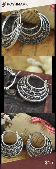 Boho Tribal Ethnic Hanging Basket Loop Earrings Antique silver colored drop earrings that clasp into place on the backside of earring. Fun fashionable earrings great for any occasion! 071820172003561 Jewelry Earrings