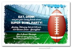 Superbowl Party Invitation Template New Football Stadium Kickoff Super Bowl Party Invitations Birthday Party Invitation Wording, Cocktail Party Invitation, Invitation Maker, Fairytale Wedding Invitations, Football Stadiums, 40th Birthday Parties, Tailgating, Printable