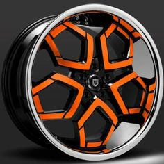 Custom - Orange and Black finish. Rims For Cars, Rims And Tires, Wheels And Tires, Tuning Motor, Racing Rims, 4x4 Accessories, Scooter Wheels, Black Betty, Car Gadgets