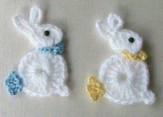 Bunny Rabbit Applique, Crochet Bunny Rabbit Applique, Crochet Bunny Rabbit Applique, Teddy Bear Appliqué pattern by Kerri Brown To the Left DUCK Crochet Applique Holiday Crochet, Easter Crochet, Crochet Crafts, Yarn Crafts, Crochet Projects, Appliques Au Crochet, Crochet Motif, Crochet Designs, Crochet Cord