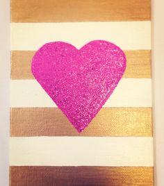 Glitter heart canvas