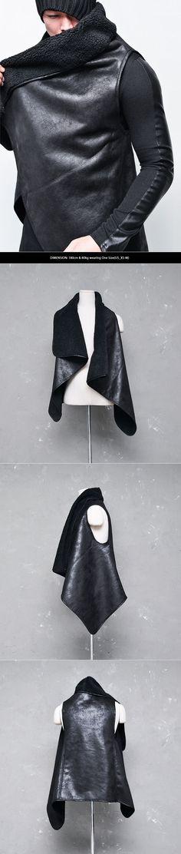 Avant-garde Diagonal Shearling Turtle Drape Vest-Leather 73 - GUYLOOK