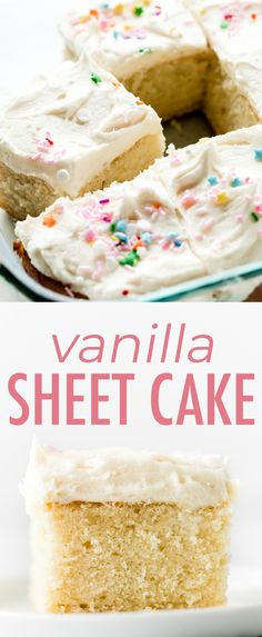 How to make soft and buttery vanilla sheet cake using the easy reverse creaming . - How to make soft and buttery vanilla sheet cake using the easy reverse creaming method! Top with wh - Easy Vanilla Cake Recipe, Chocolate Cake Recipe Easy, Homemade Chocolate, Chocolate Recipes, Chocolate Chip Cookies, Cake Flour Recipe, Vanilla Cake From Scratch, Easy Cookie Recipes, Dessert Recipes