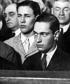 Nathan Leopold and Richard Loeb were two young wealthy individuals who tried to commit the perfect crime.  There atrocious and brutal murder of Bobby Franks would seal their fate and tie the two killers to psychopathic study and their names synonymous with the most evil figures society has ever produced.  The societal changes of the 1920s was partly blamed for Loeb and Leopold's behavior.  This picture was found at http://menschenleer.blogspot.com/2010/04/leopold-and-loeb-folie-deux.html