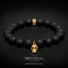 Perfect for both smart & casual styles, this special bracelet from our collection is made from smooth natural Matte Black Onyx and is finished with a Gold Skull Charm. Each eye is set with a precision cut black Swarovski crystal | Available now at Northskull.com [Worldwide Shipping] #Luxury #Jewelry #MensFashion