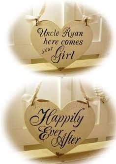 """Our flower girl sign came in the mail! Once our ceremony is over, Ryan's niece can flip the sign to """"Happily Ever After"""" as she walks back down the aisle :)"""