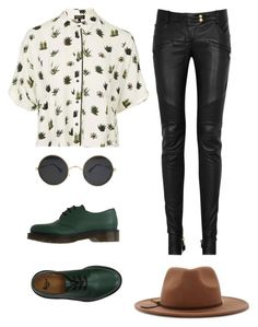 """""""Untitled #33"""" by juanitaruiz777 on Polyvore featuring Topshop, Balmain, Dr. Martens and Forever 21"""
