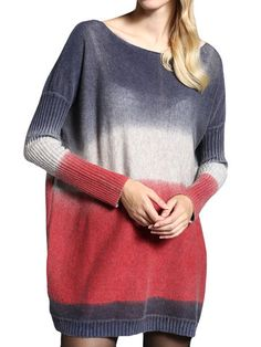 OL Gradient Loose Long Sleeve Knit Basic Women Sweater Dress