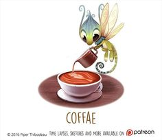 Daily Paint 1473. Coffae #cute #coffee #fairy #art