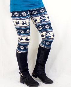 Santa Clause Blue: Leggings | privityboutique
