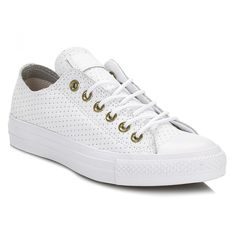 599813e81a72 Converse Womens White   Biscuit Chuck Taylor All Star Ox Leather Trainers