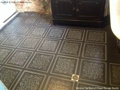 Bathroom Remodel with DIY floor stencils from Royal Design Studio