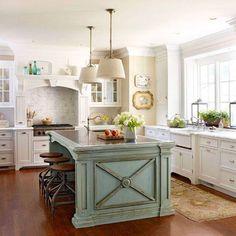 Kitchen Island - Love the soft blue island in this kitchen!  #kitchens  #kitchendesigns homechanneltv.com